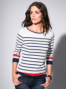 Brax Feel Good - Ringel-Shirt mit 3/4-Arm aus 100% Baumwolle