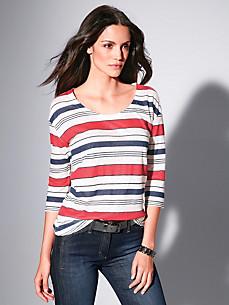 Brax Feel Good - Ringel-Shirt mit 3/4-Arm aus 100% Leinen