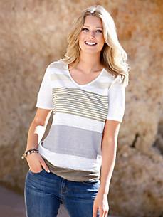 Efixelle - Le T-shirt décolleté V en pur lin