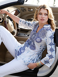 Just White - Bluse im Tunika-Stil