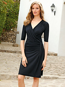 Uta Raasch - Jersey-Kleid  mit langem 1/2-Arm und V-Ausschnitt