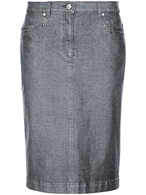 Peter Hahn - Jeans-Rock mit Nieten- und Strassbesatz