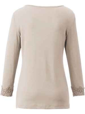 Peter Hahn - Jersey-Shirt mit 3/4-Arm und Blüten-Stickereien